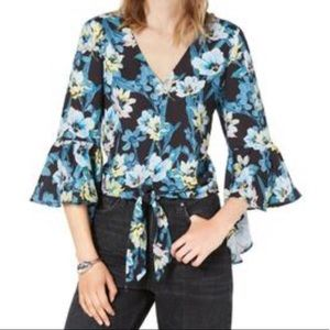 Bar III Floral Front Tie Blouse NWOT